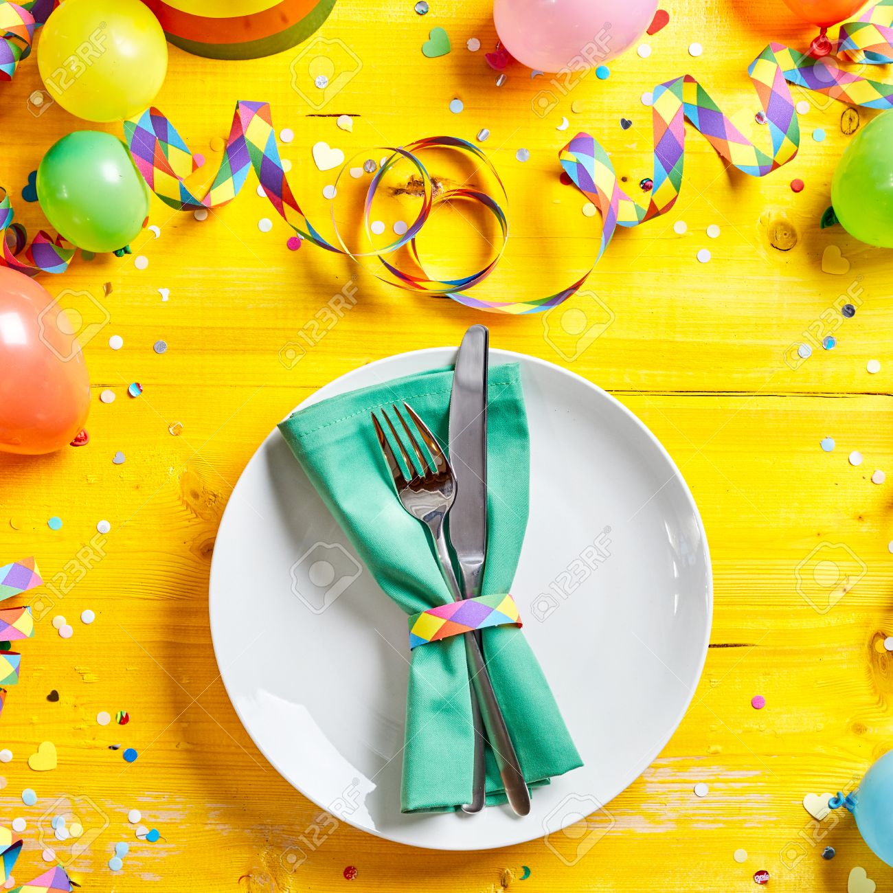 Vivid Yellow Carnival Place Or Table Setting With Party Balloons ...