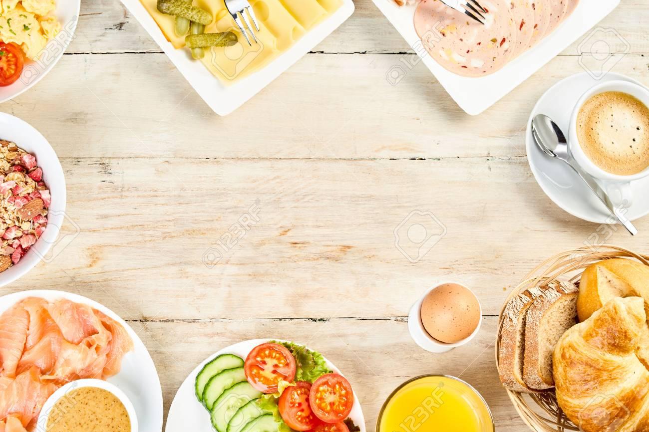 Internationales Frühstück Rahmen Auf Rustikale Holz Mit Einer ...