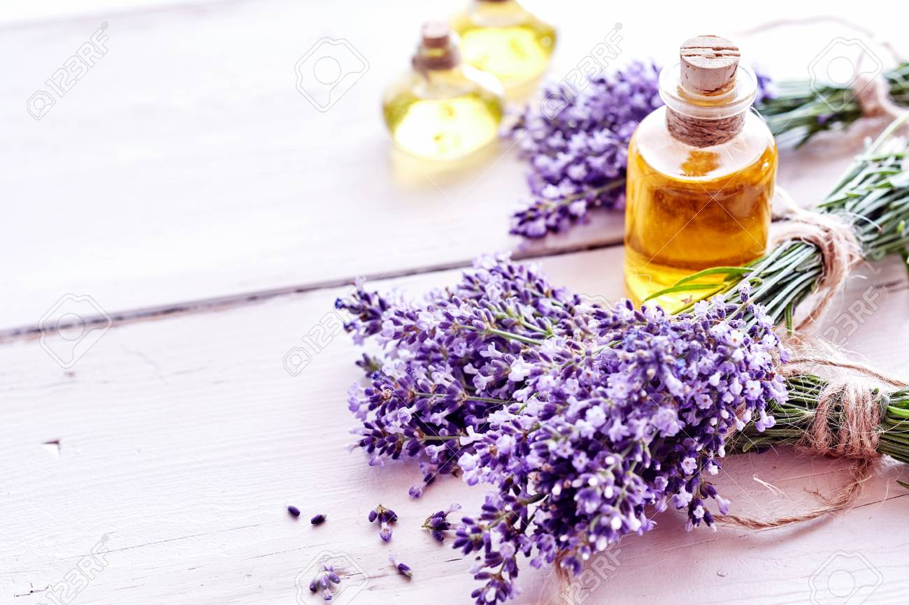 Spa Background With Bunches Of Fresh Lavender Flowers And Bottles Stock Photo Picture And Royalty Free Image Image 82316728