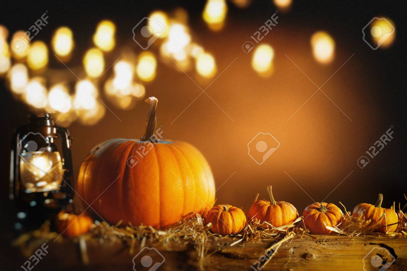Halloween Or Thanksgiving Background With Fresh Fall Pumpkins