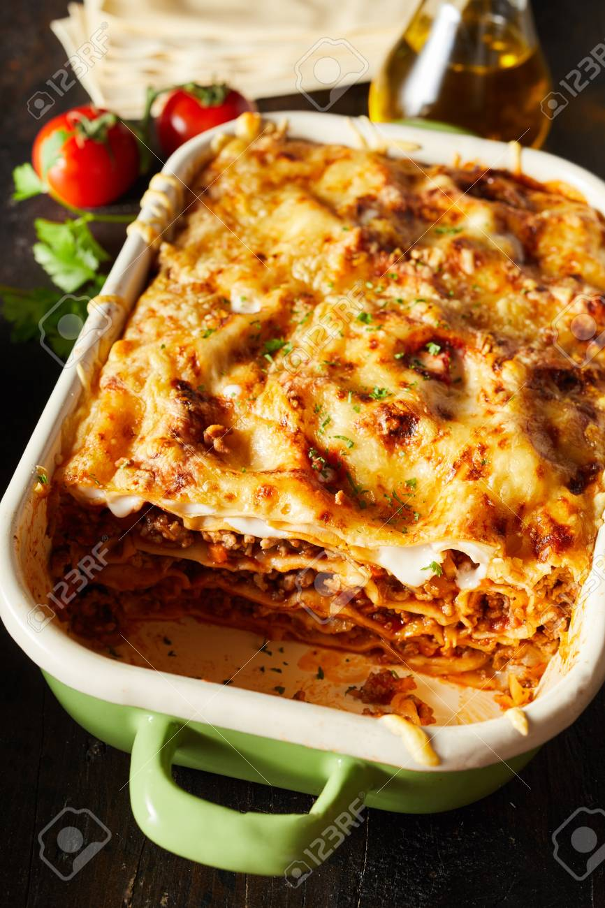 Tasty Dish Of Oven Baked Lasagne Topped With Golden Melted Mozzarella