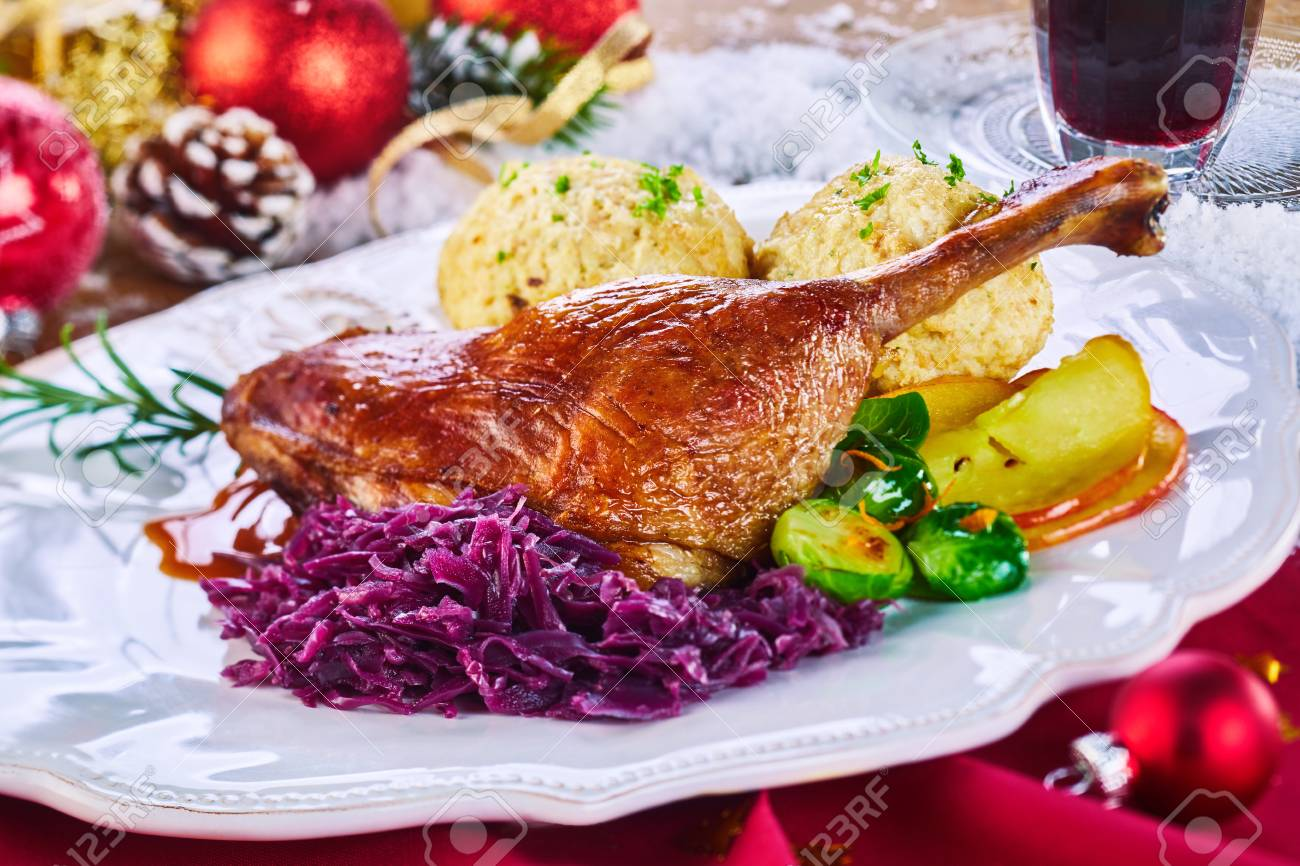 Golden Roasted Xmas Turkey Leg And Vegetables Served On A Platter