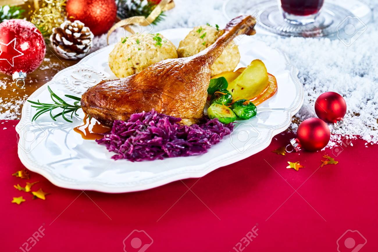 Serving Of Traditional Christmas Roasted Turkey On A Festive Stock