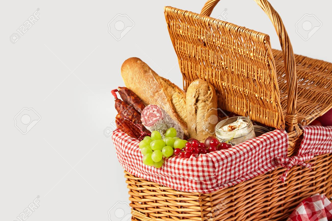 Fresh Fruit Bread And Cheese In An Open Wicker Picnic Basket Stock Photo Picture And Royalty Free Image Image 104039800