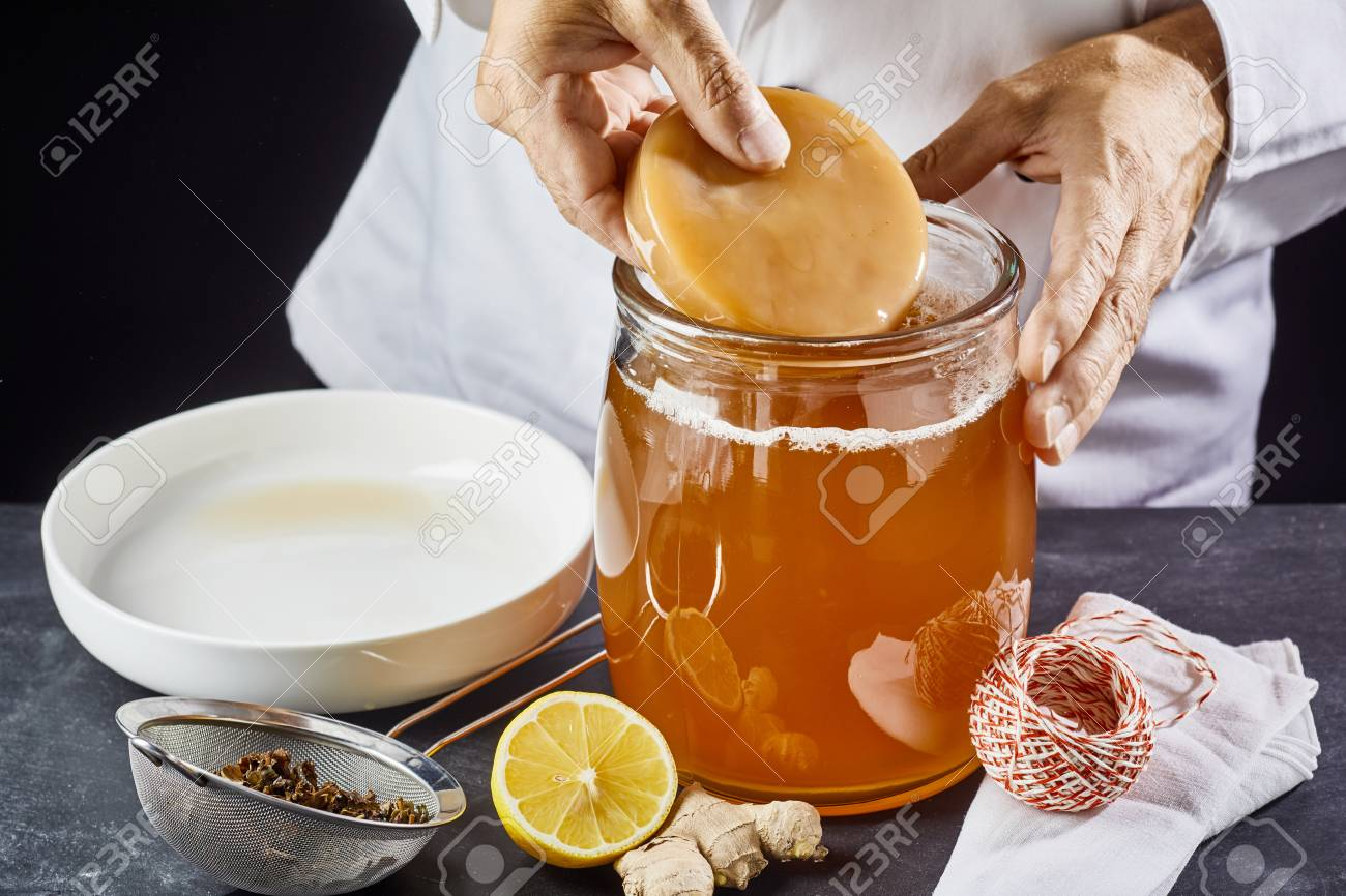 Man placing the scoby or fungus in a glass jar of sweetened black tea to start the fermentation process to make kombucha - 105415659