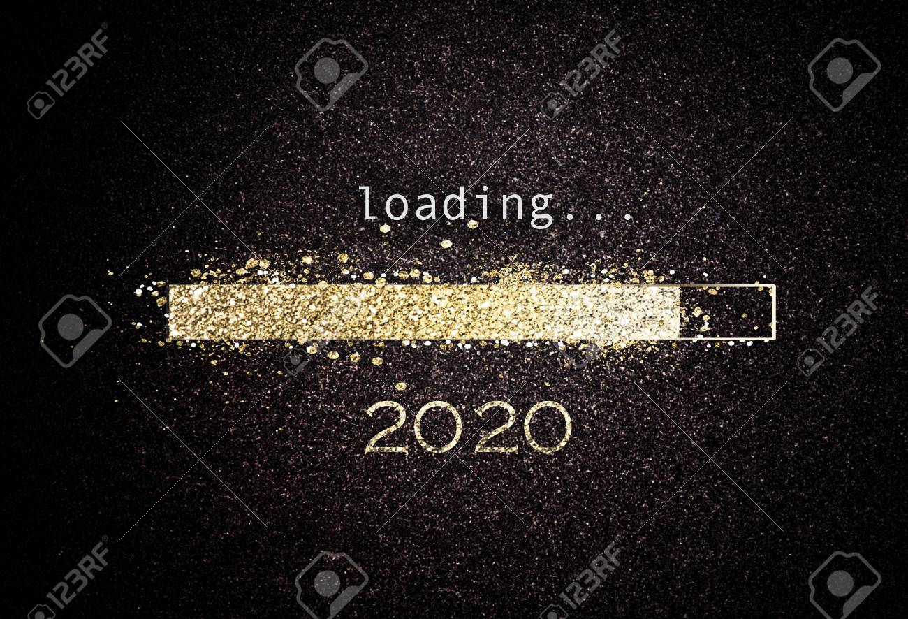 2020 New year background with loading bar of sparkling gold glitter counting down to the new year over a black background with copy space - 115257811
