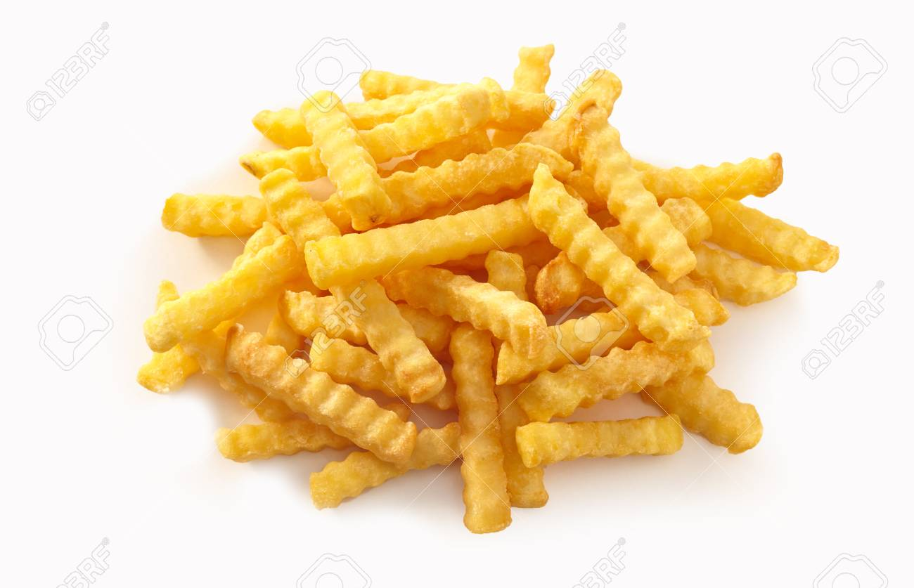 Stack of rippled fries on isolate white background. - 115257991