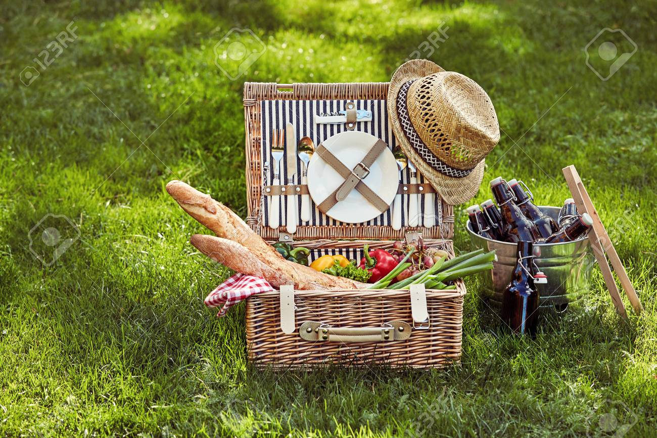 Vintage Wicker Picnic Hamper Filled With Fresh Vegetarian Food Stock Photo Picture And Royalty Free Image Image 124857559