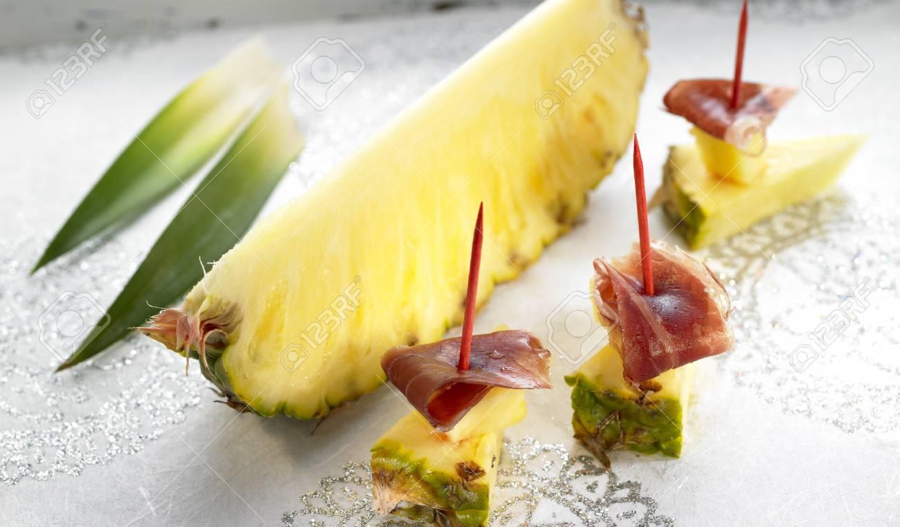 Pineapple and Spanish ham tapas Stock Photo - 17028152