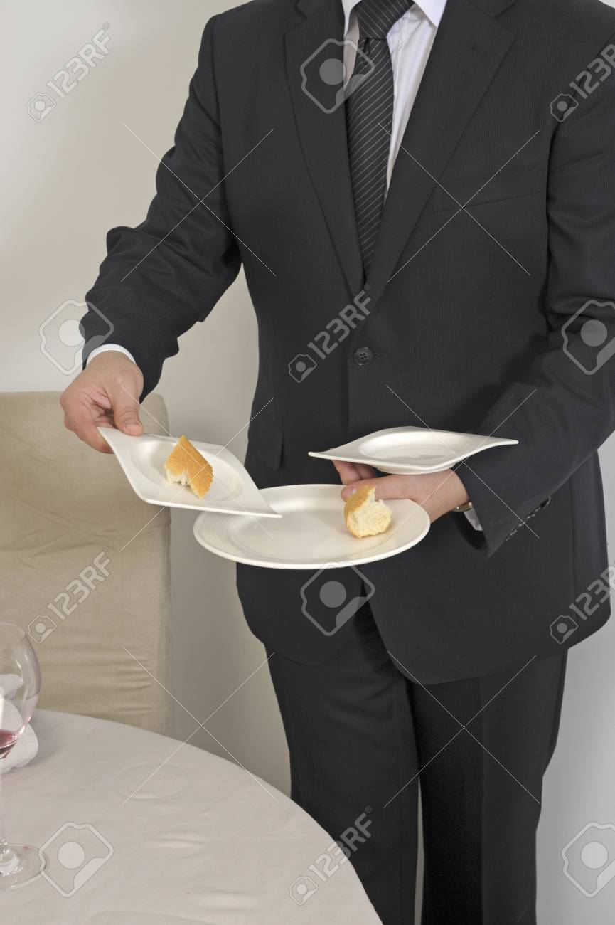 Preparing the client's table for desserts Stock Photo - 17028304