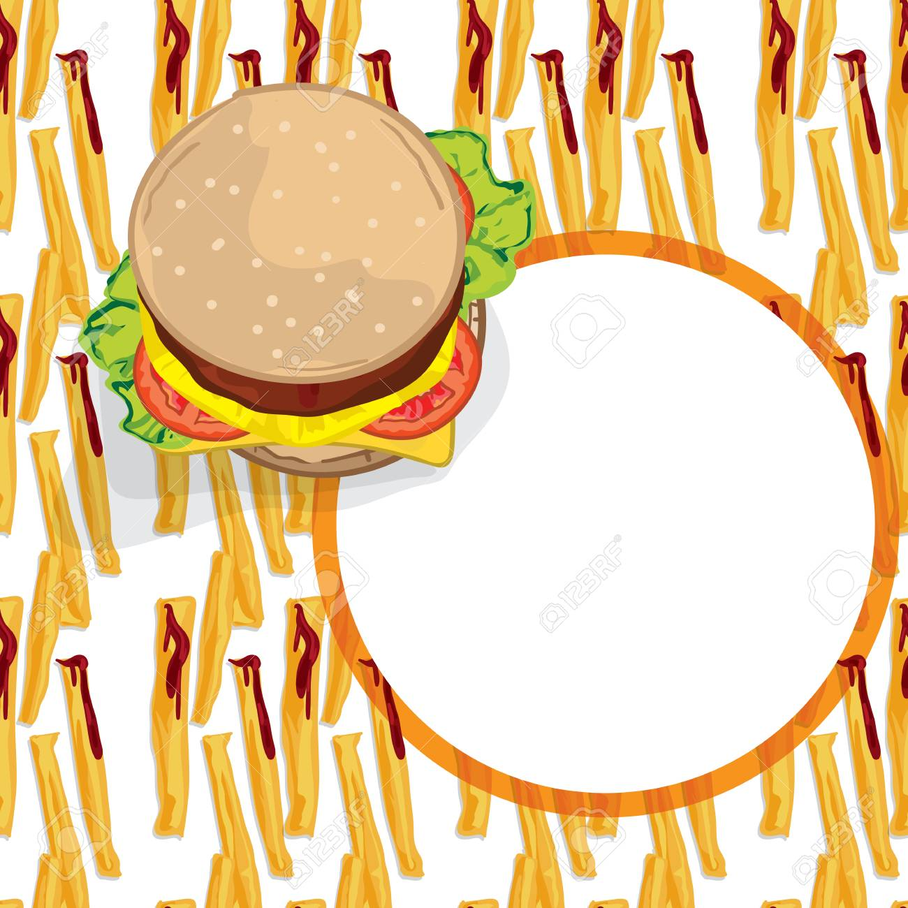 pattern food french fries hamburger template royalty free cliparts