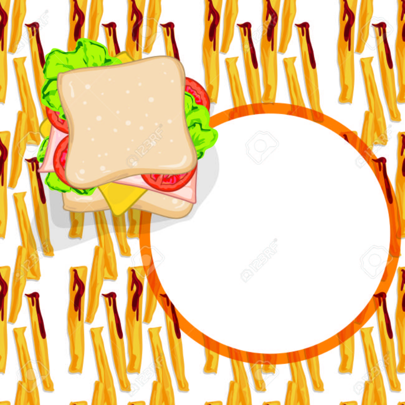 pattern food french fries sandwich template royalty free cliparts