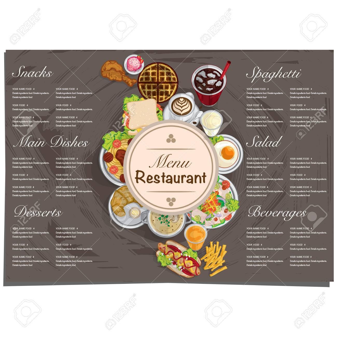 Menu Alimentaire Restaurant Modèle Conception Dessin à La Main Graphique