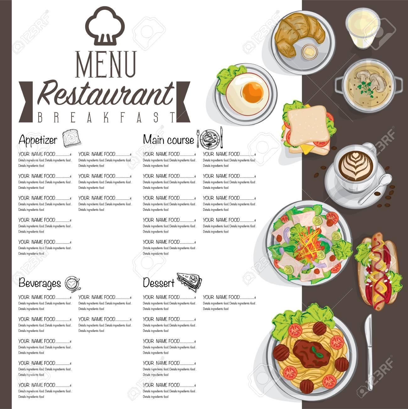 Menú Desayuno Comida Restaurante Plantilla De Diseño Gráfico De ...