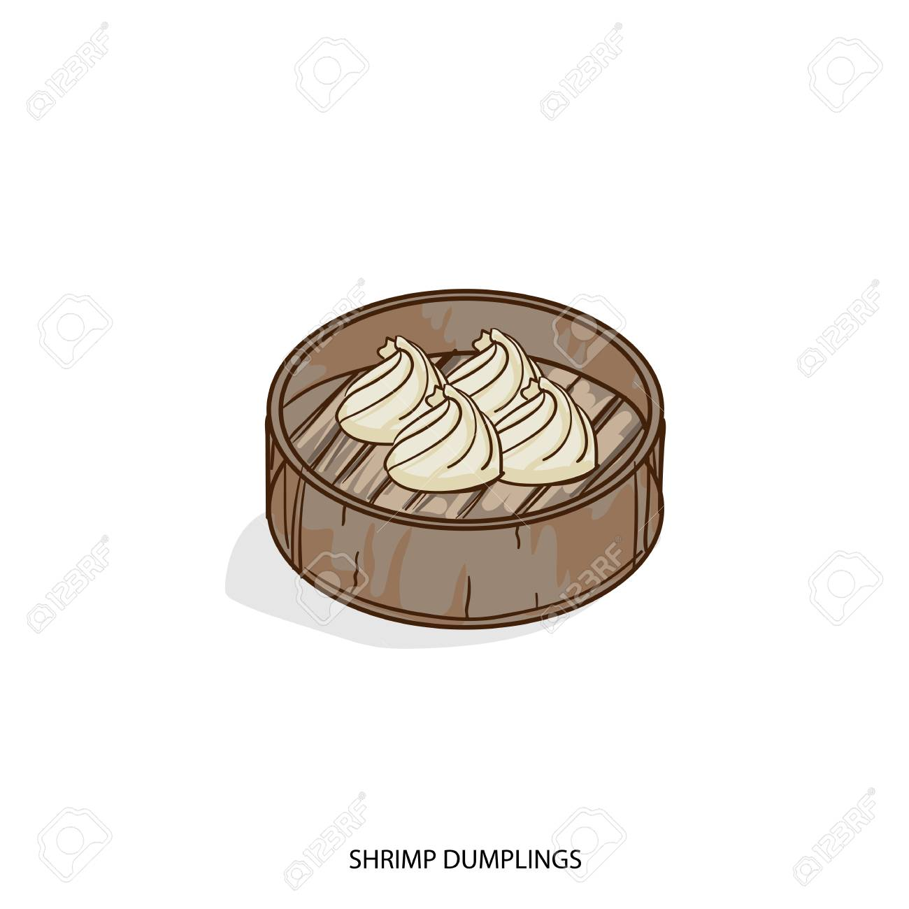 A Chinese Food Shrimp Dumplings Object Hand Drawing On White Royalty Free Cliparts Vectors And Stock Illustration Image 87691687