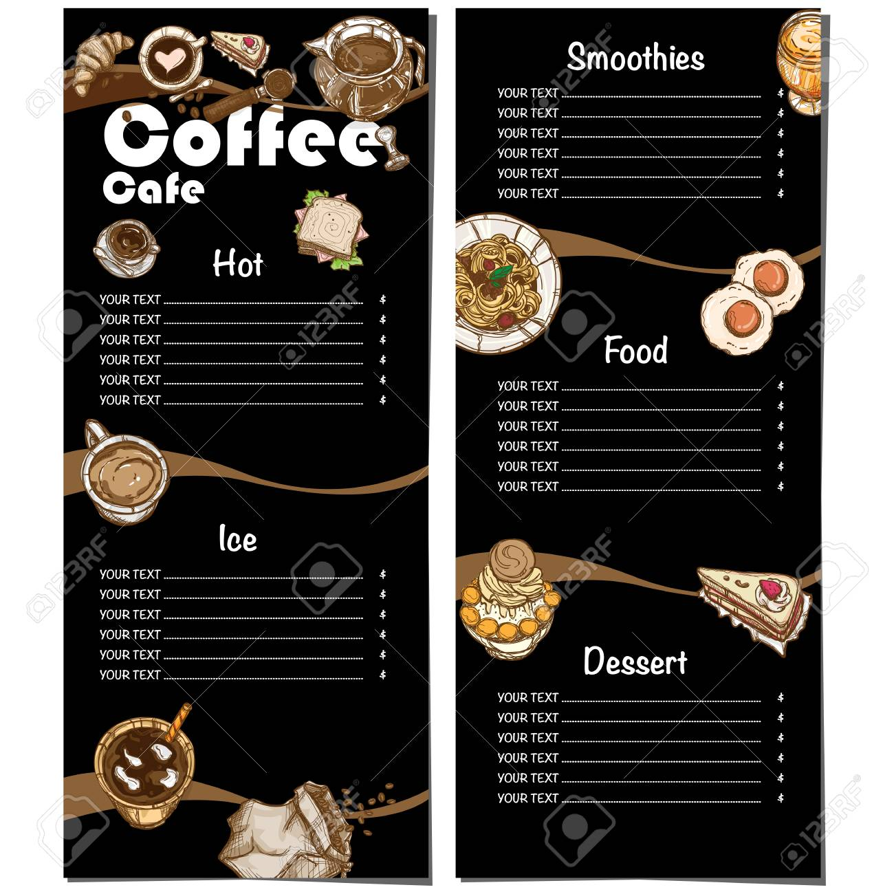 coffee shop menu template hand drawn graphic illustration royalty