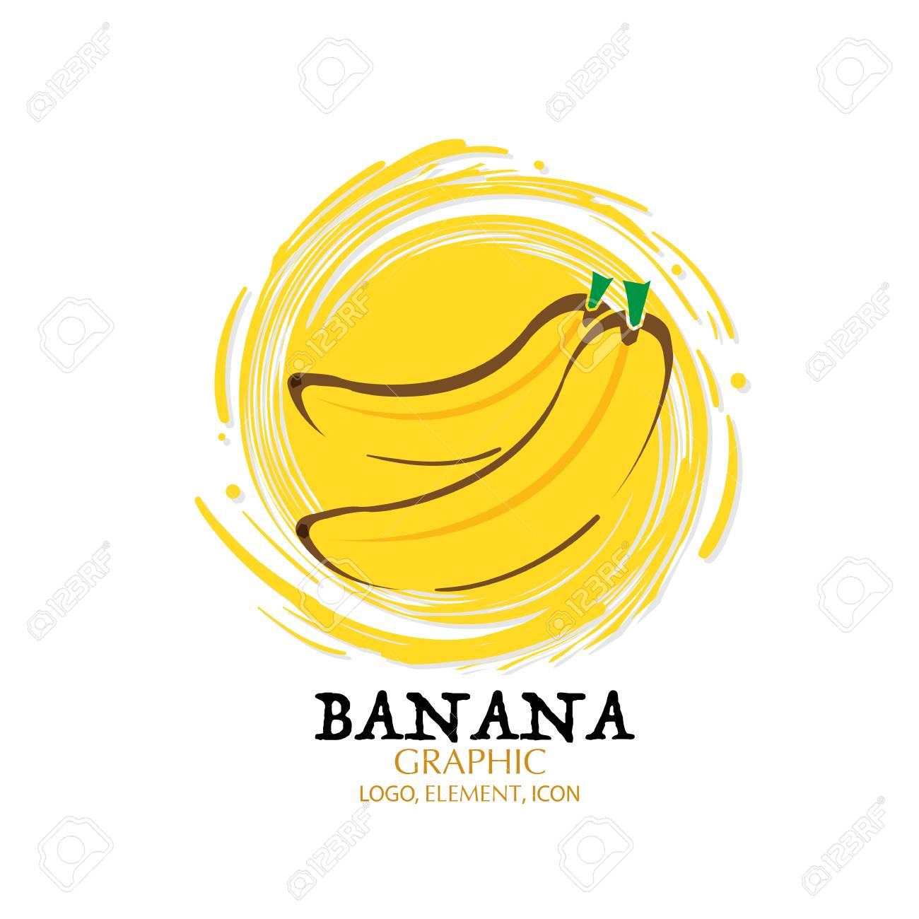 Fruit Banana Graphic Element Design Logo Key Visual Water Splash