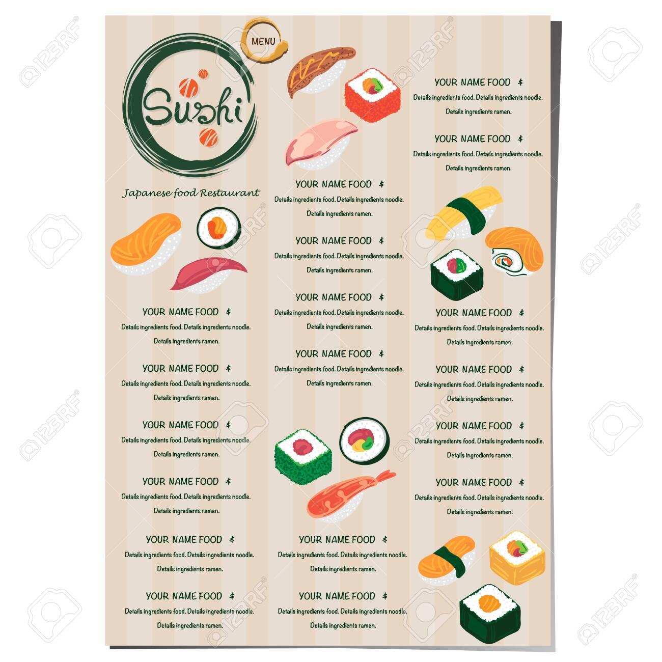 sushi japanese restaurant menu template design graphic - 131646432