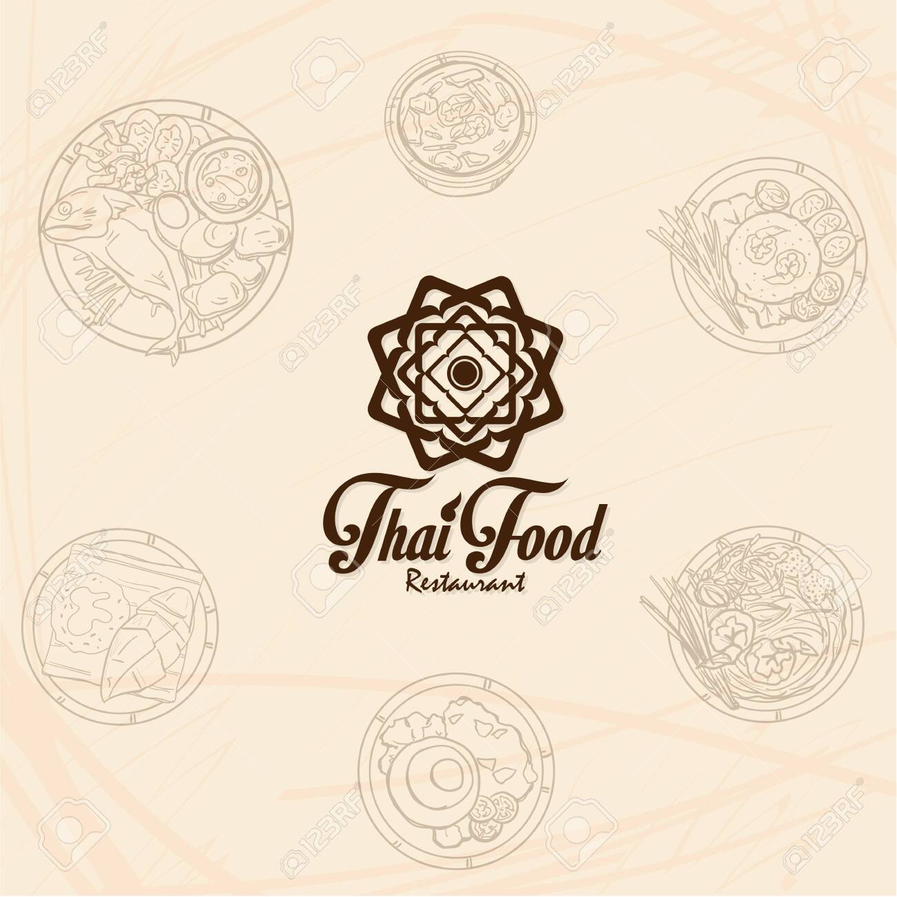 Thai Food Restaurant Logo Icon Graphic Royalty Free Cliparts Vectors And Stock Illustration Image 134585159