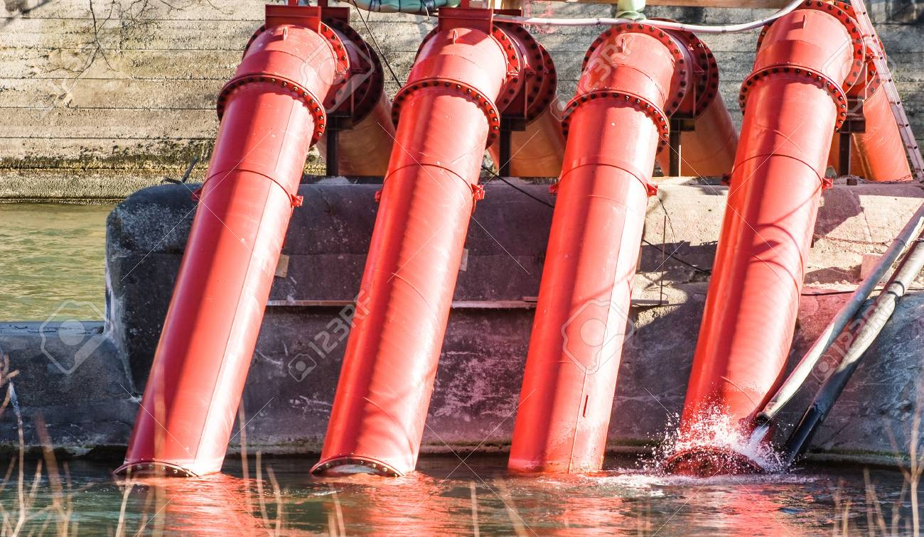 modern water pumps and pipes at the isar in munich Stock Photo - 16907012