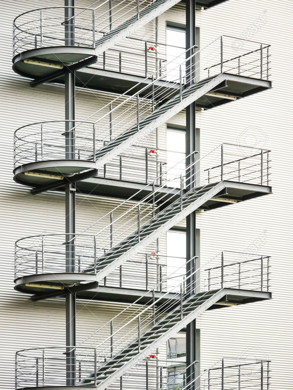 Modern Fire Escape And Staircase Stock Photo   17091069