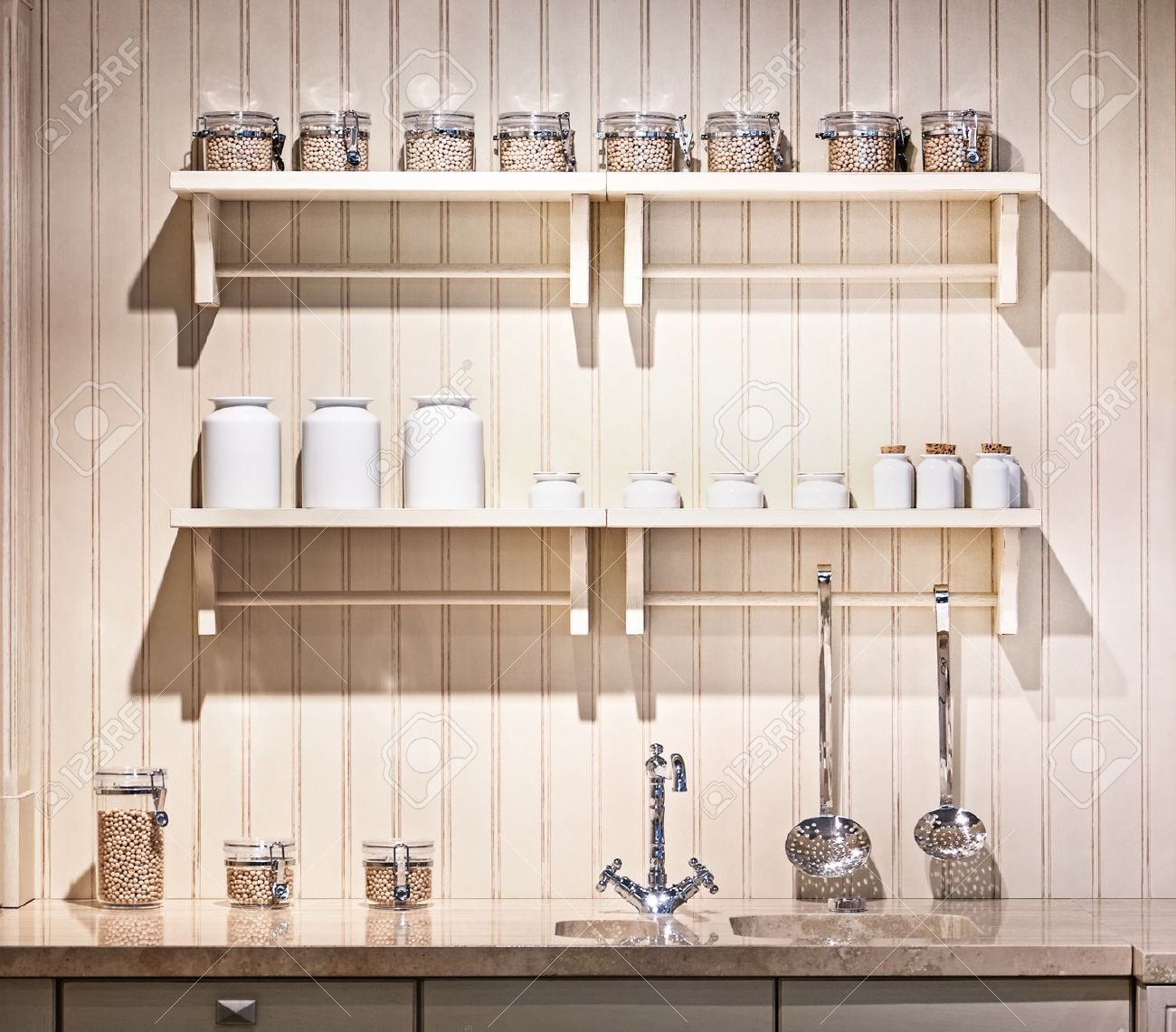 Beautiful Old Fashioned Kitchen With Shelves Stock Photo Picture And Royalty Free Image 17325623