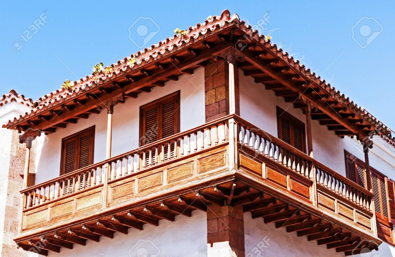 typical old wooden balcony at the canary islands Stock Photo - 17465390
