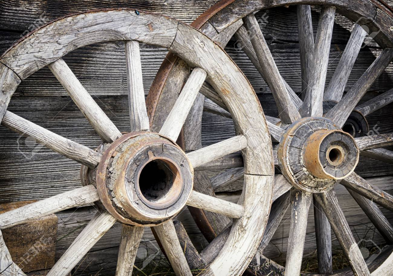 Old Wagon Wheels At A Farm Stock Photo   23552644