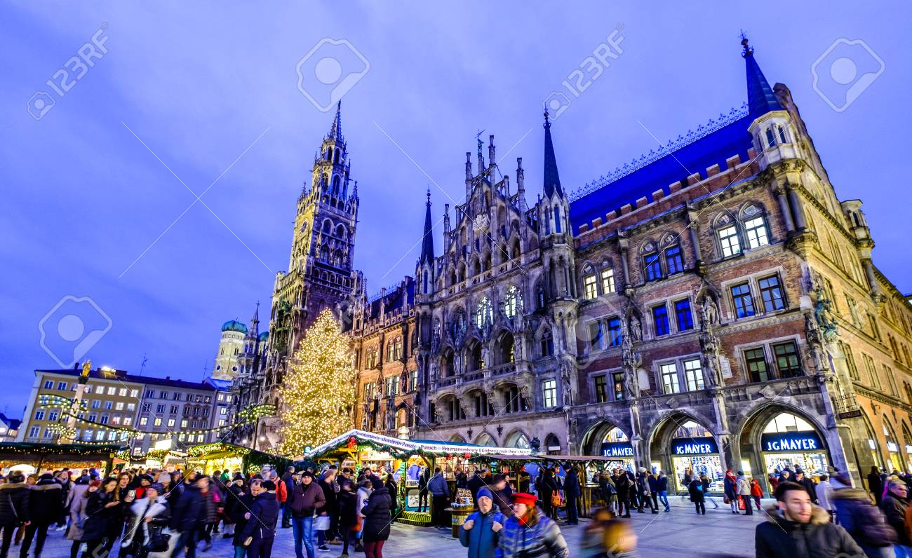 Munich Germany Christmas.Munich Germany December 18 People And Sales Booth At The