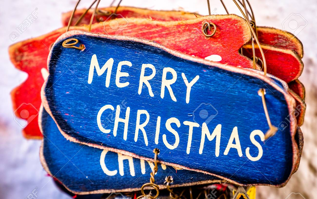 Old Fashioned Christmas Decoration - Merry Christmas Stock Photo ...