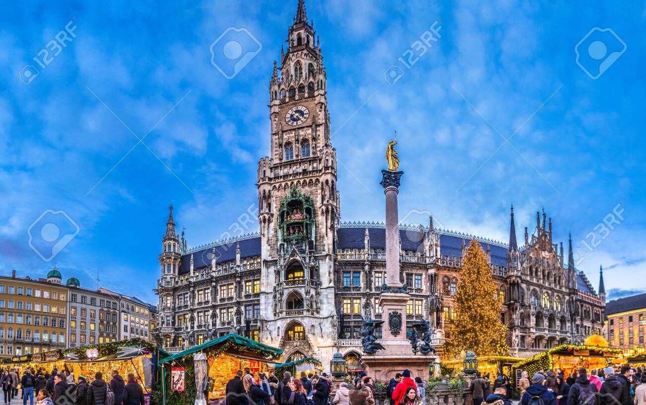 Christmas In Munich Germany.Munich Germany December 20 People And Sales Booth At The