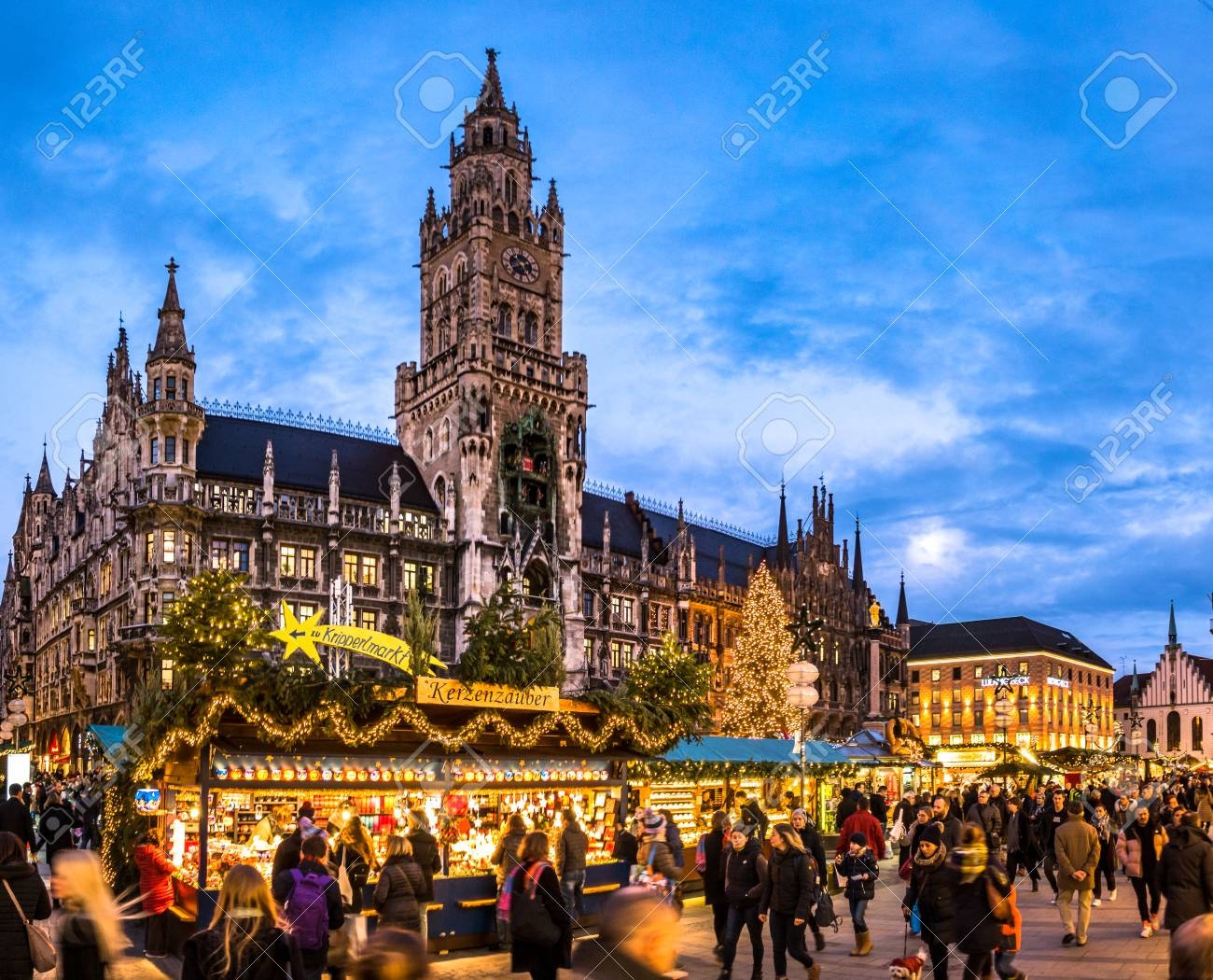 Munich Germany Christmas.Munich Germany December 20 People And Sales Booth At The