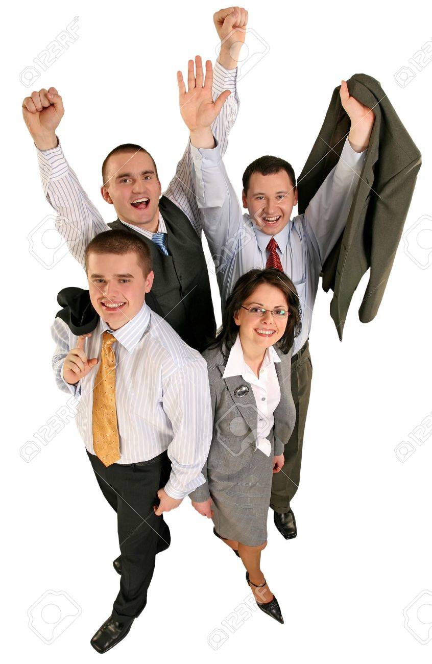 Friendly young group business team celebrate their success Stock Photo - 608069