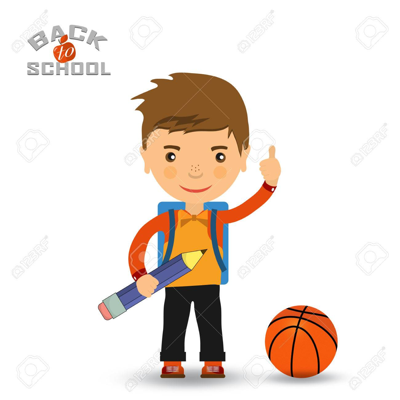 Back to school design. Vector illustration - schoolboy showing OK sign and  a basketball Stock