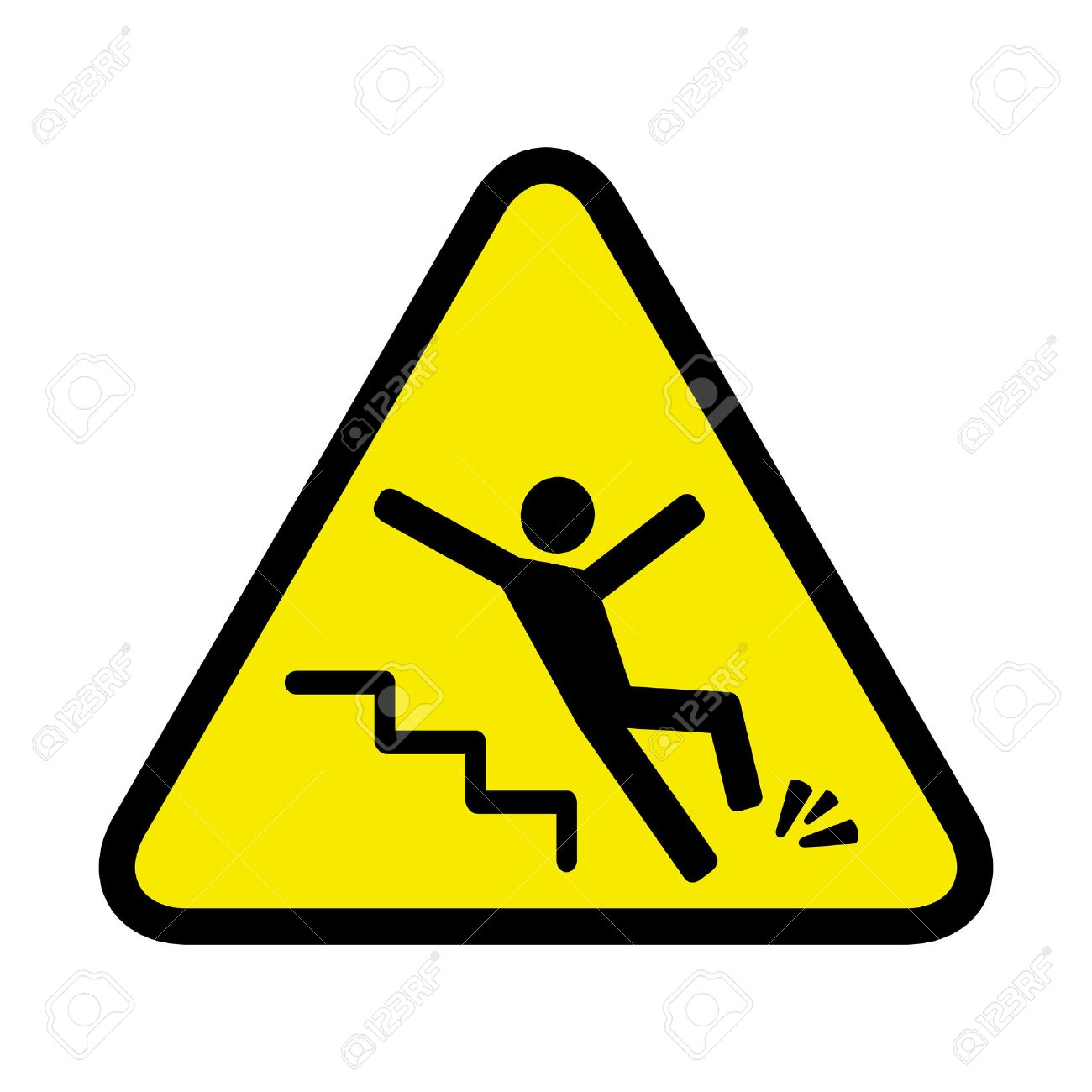 sign of danger of falling because of ice on the stairs - 55443008