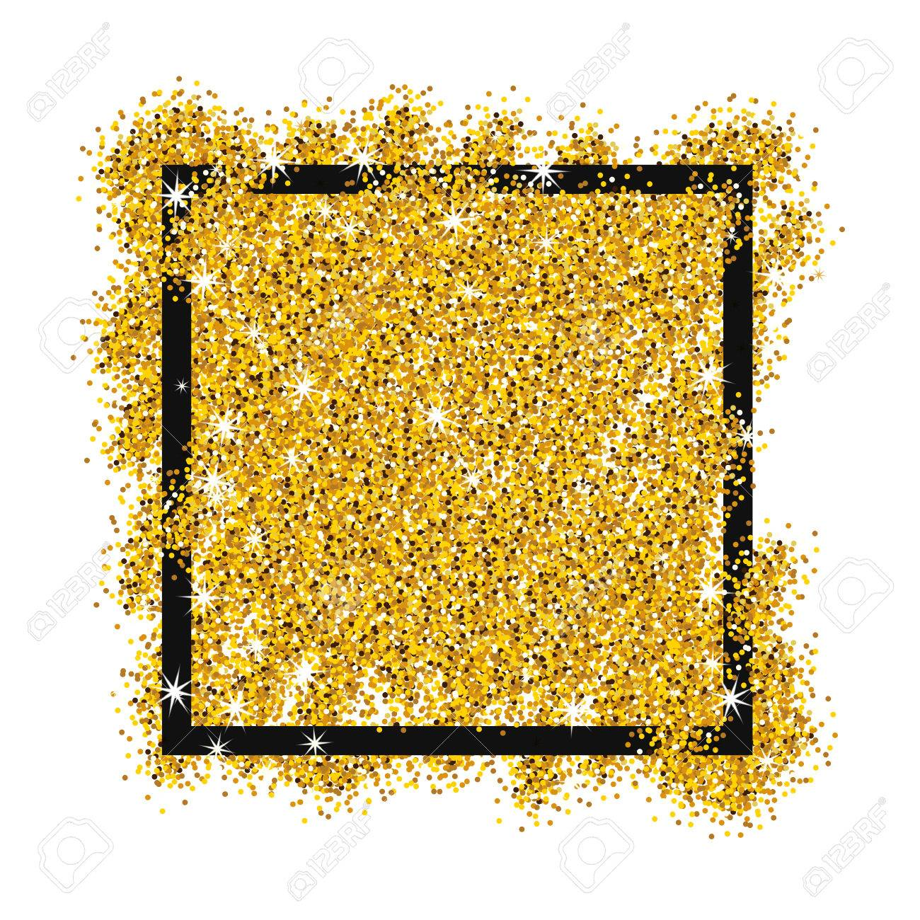 Gold Sparkles On White Background In Black Frame Gold Glitter