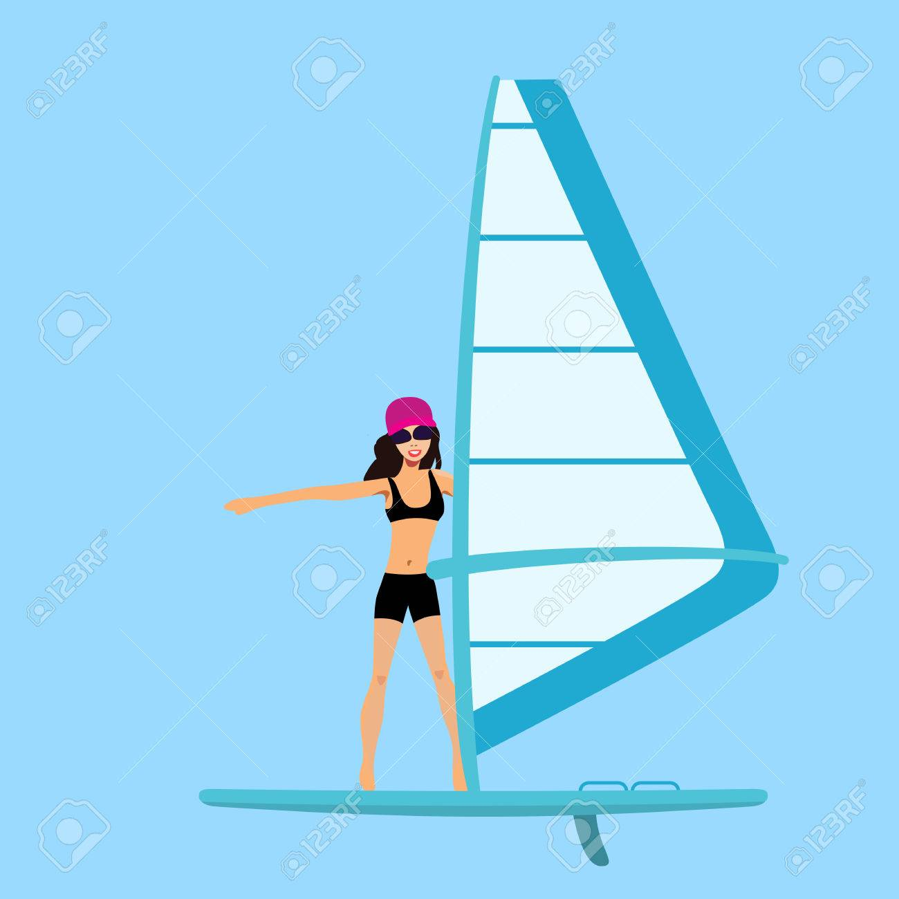 Illustration Vecteur Femme Windsurfing Cartoon Fille Flotte Sur Une Planche A Voile Clip Art Libres De Droits Vecteurs Et Illustration Image 58291073