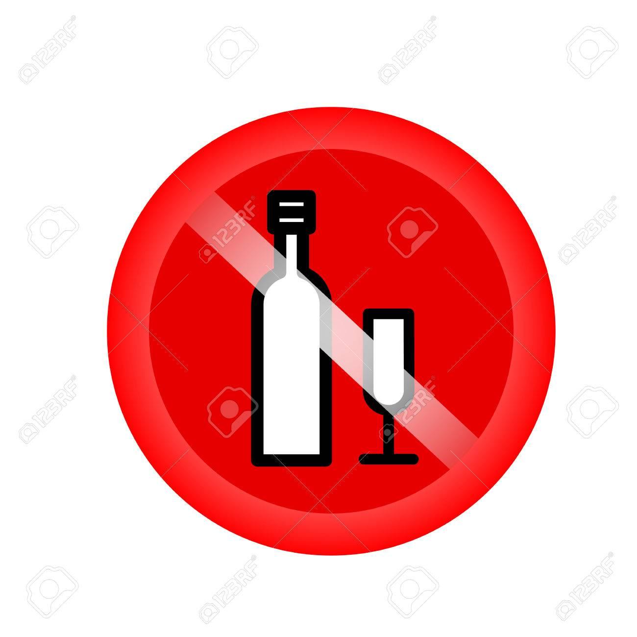 Keine Alkohol Getränke, Verbietet Vektor Unterzeichnen. Red Verbot ...