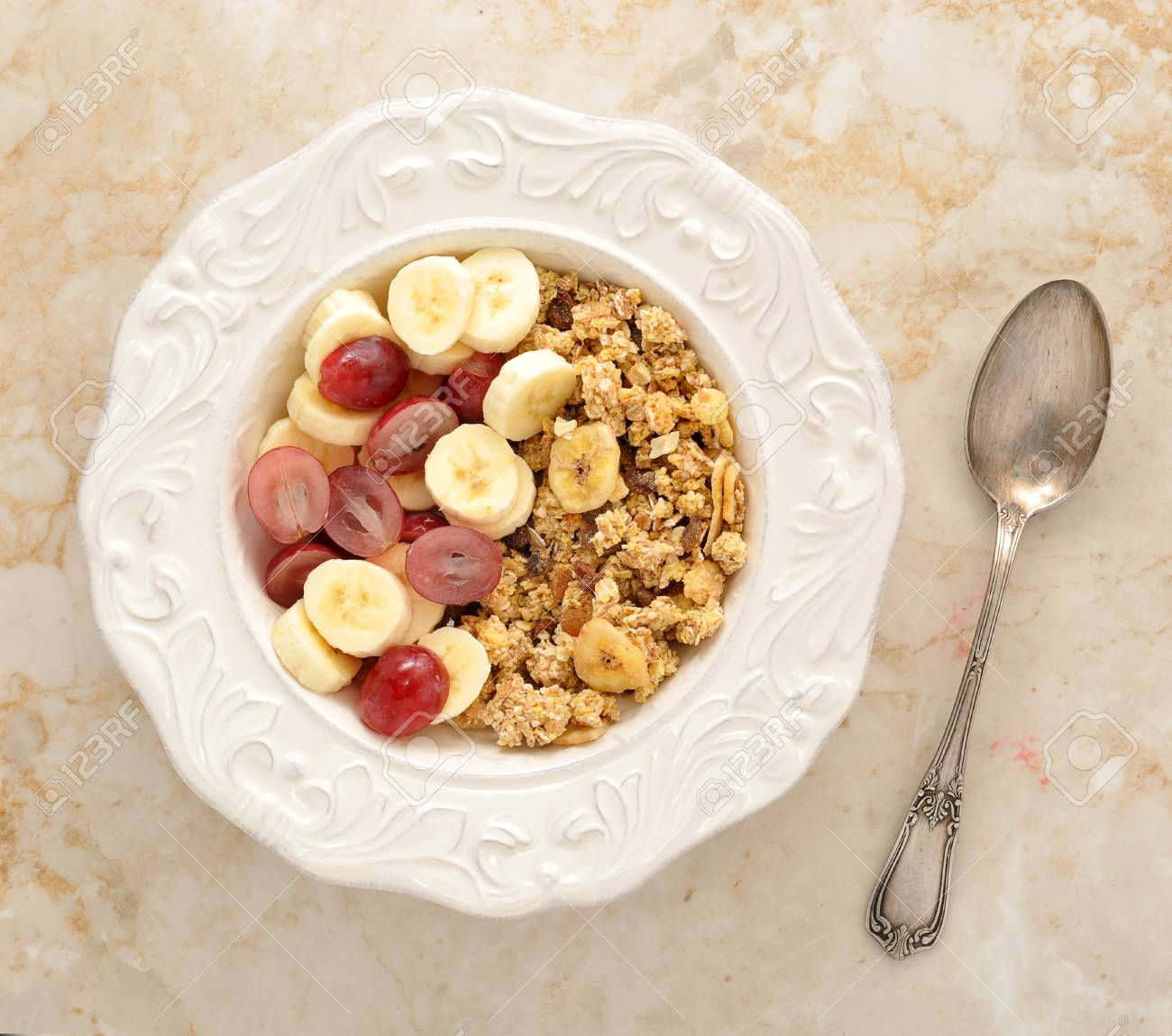 Muesli With Banana Grapes And Milk Healthy Breakfast Top View Stock Photo Picture And Royalty Free Image Image 58303991