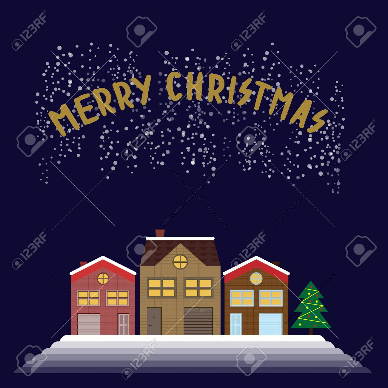 Christmas greeting picture with timbered houses and the christmas christmas greeting picture with timbered houses and the christmas tree with the words merry christmas stock m4hsunfo
