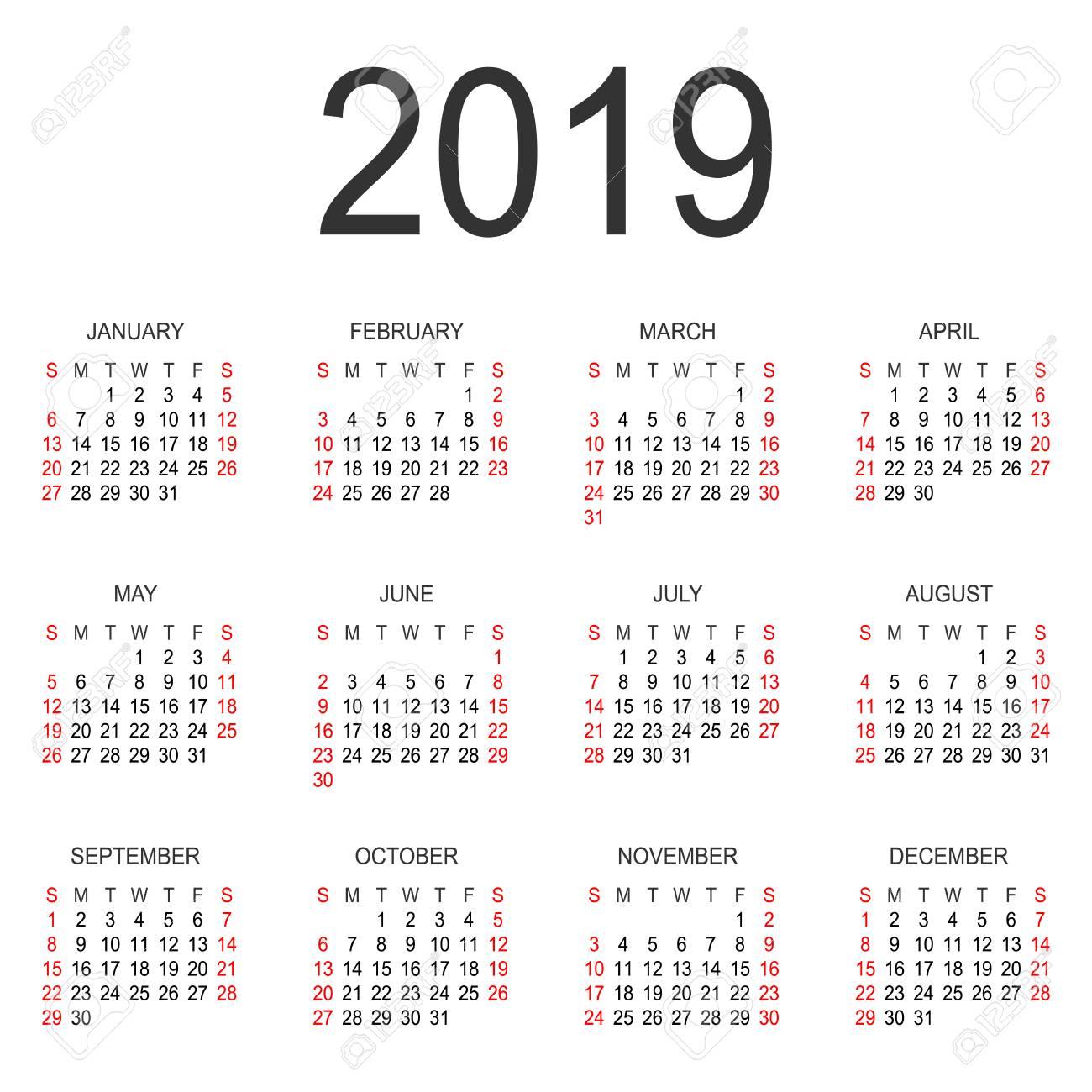 2019 Sunday Calendar Calendar 2019 Year Vector Design Template. Simple 2019 Year