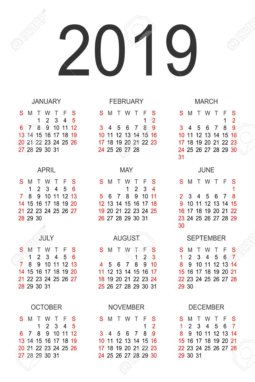 Calendar 2019 Year Calendar 2019 Year Vector Design Template. Simple 2019 Year