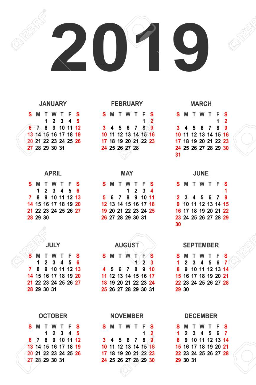 2019 year calendar free download