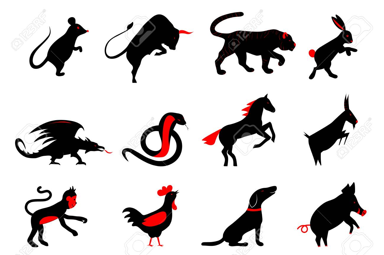 Twelve Chinese Year Lunar Zodiac Horoscope Symbols Zodiac China