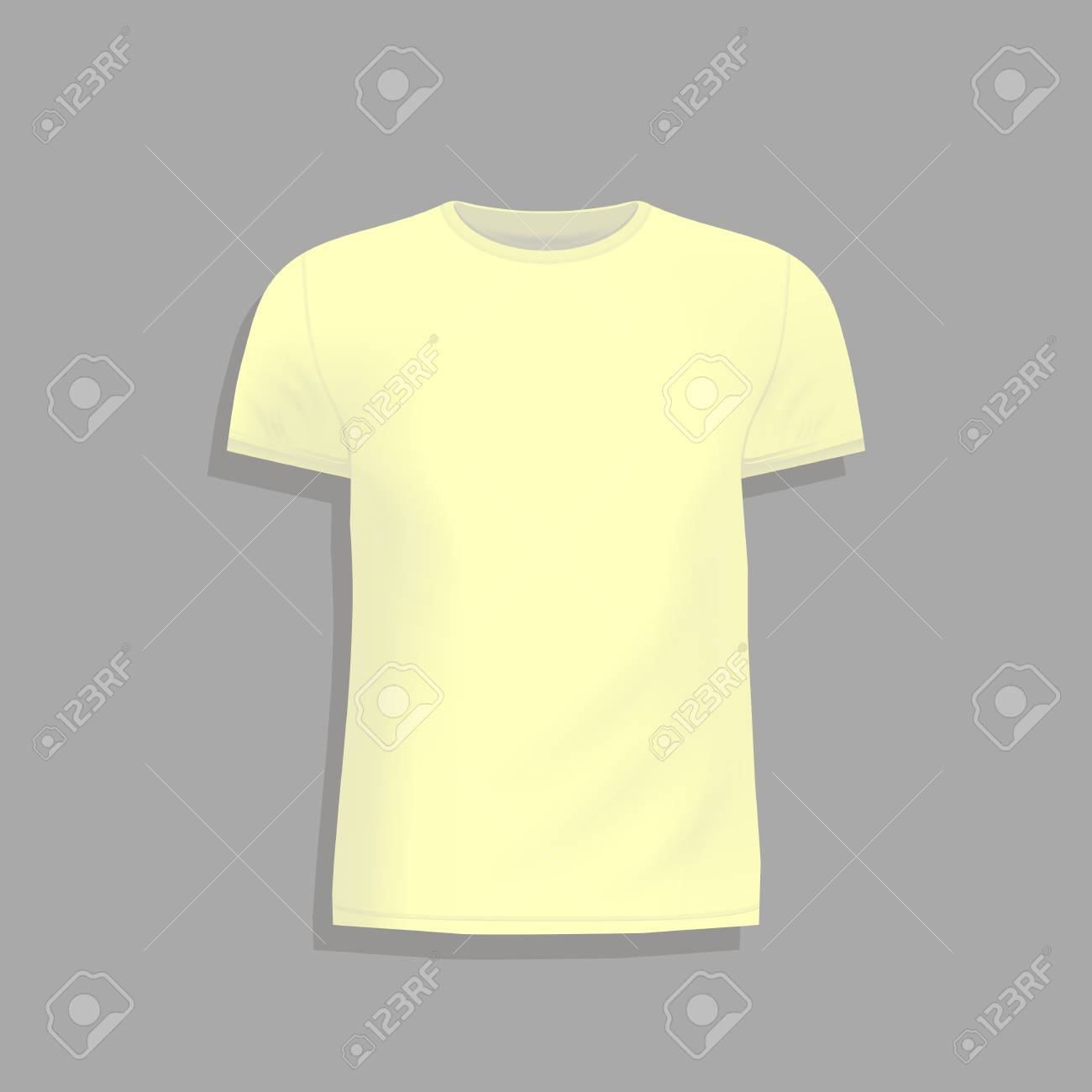 Mens Yellow T Shirt Design Template Mock Up Tshirt For Print Blank