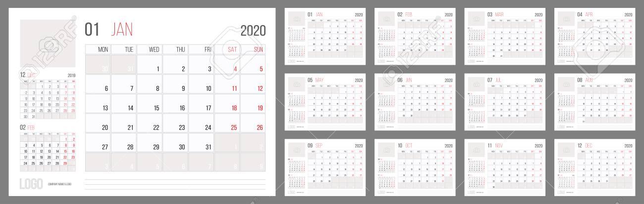 2020 Annual Calendar.Calendar 2020 Planner Corporate Template Design Set Week Starts