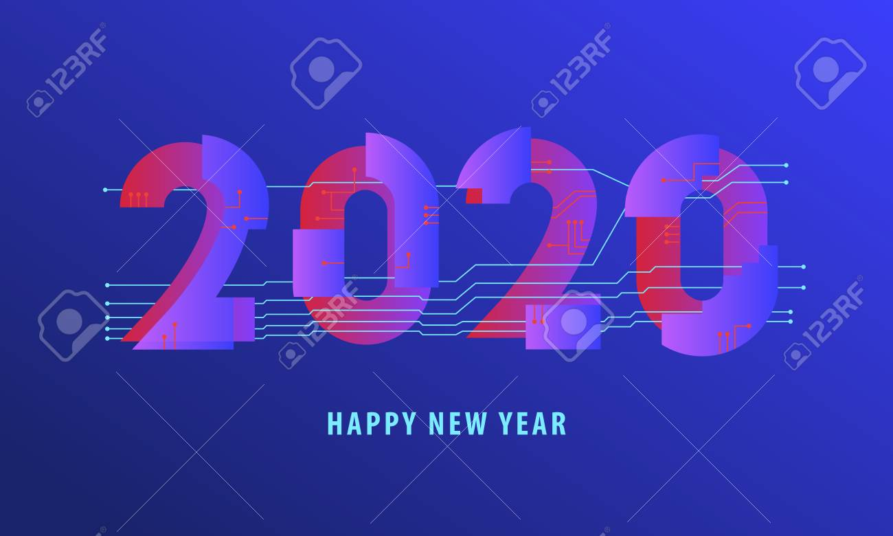 2020 happy new year abstract electronical virtual reality card royalty free cliparts vectors and stock illustration image 125712731 123rf com