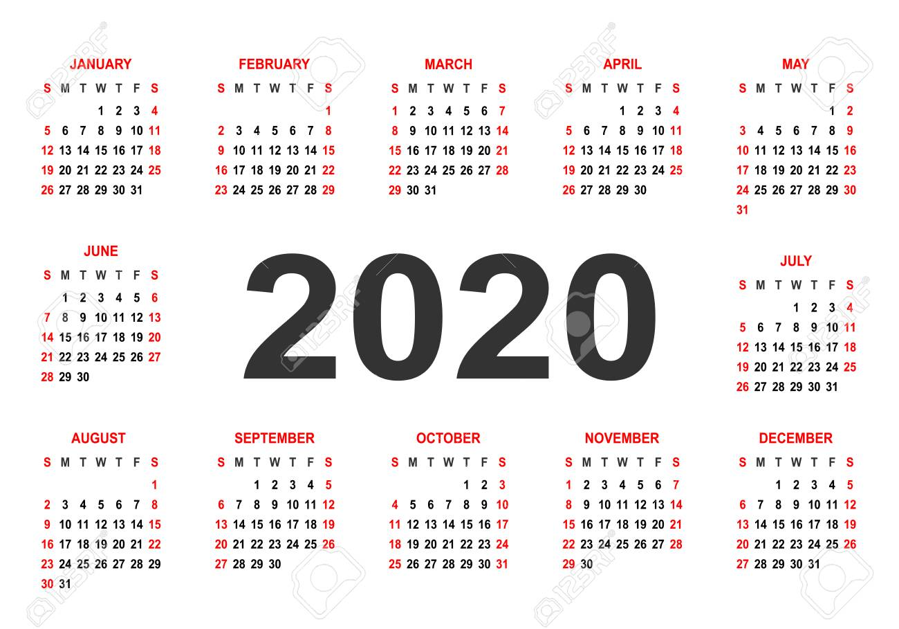 Annual Calendar 2020 Calendar 2020. Week Starts On Sunday. Basic Grid Red Color