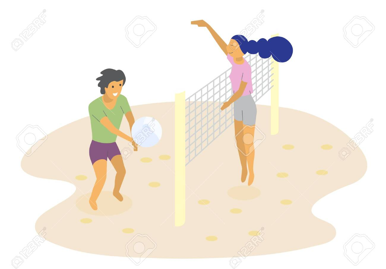 Boy Volleyball Player Stands Right With The Ball Stock Vector -  Illustration of hand, flat: 152956144