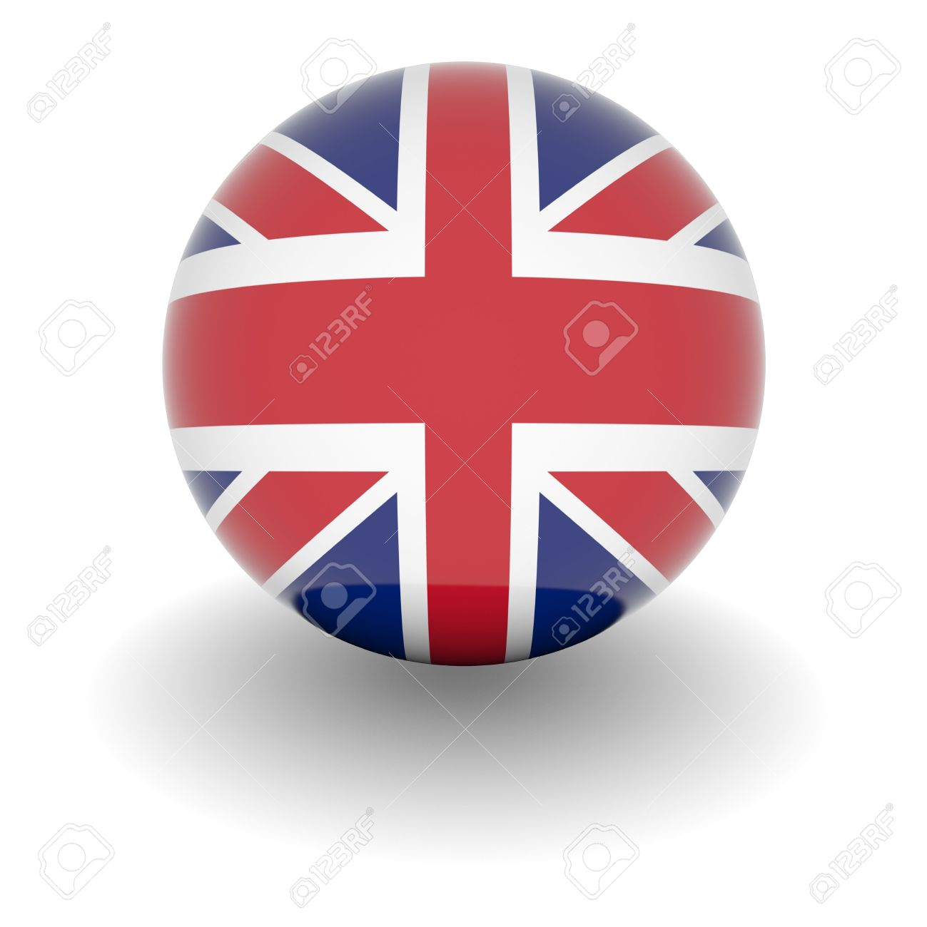 3D Ball with Flag of the United Kingdom. High resolution 3d render isolated on white. Stock Photo - 5376532